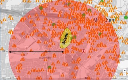 LoRaWan coverage map of Munich