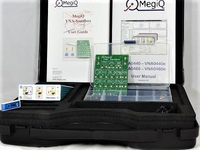 A photograph of the MegiQ VNA and sandbox complete kit